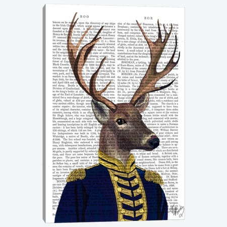Captain Deer, Print BG Canvas Print #FNK958} by Fab Funky Canvas Wall Art