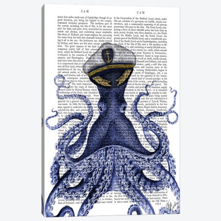 Captain Octopus II Canvas Print #FNK959} by Fab Funky Canvas Artwork