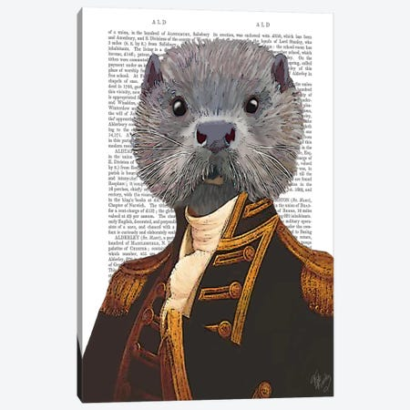 Captain Otter Canvas Print #FNK960} by Fab Funky Canvas Art Print