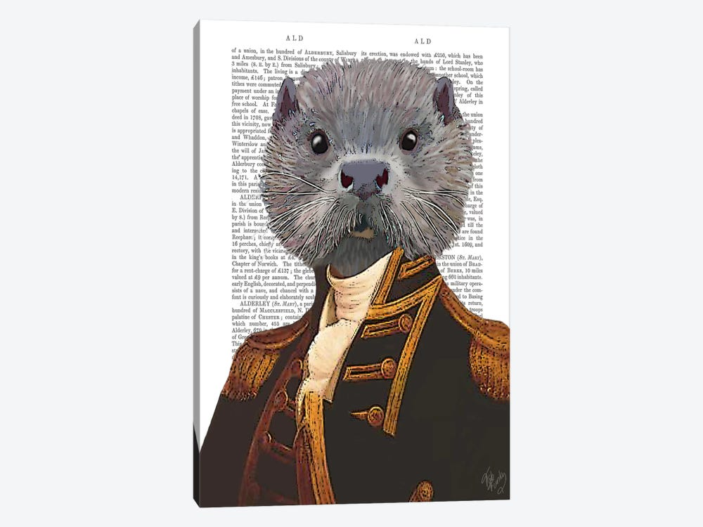 Captain Otter by Fab Funky 1-piece Canvas Artwork