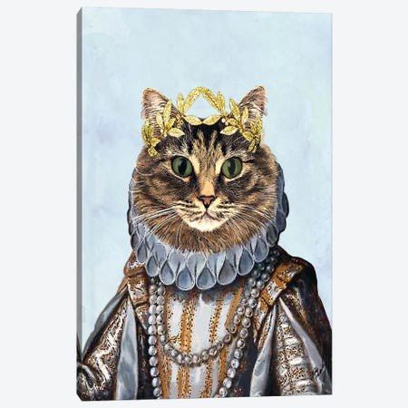 Cat Queen Canvas Print #FNK961} by Fab Funky Canvas Print