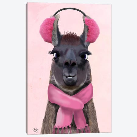 Chilly Llama Pink Canvas Print #FNK963} by Fab Funky Canvas Art Print