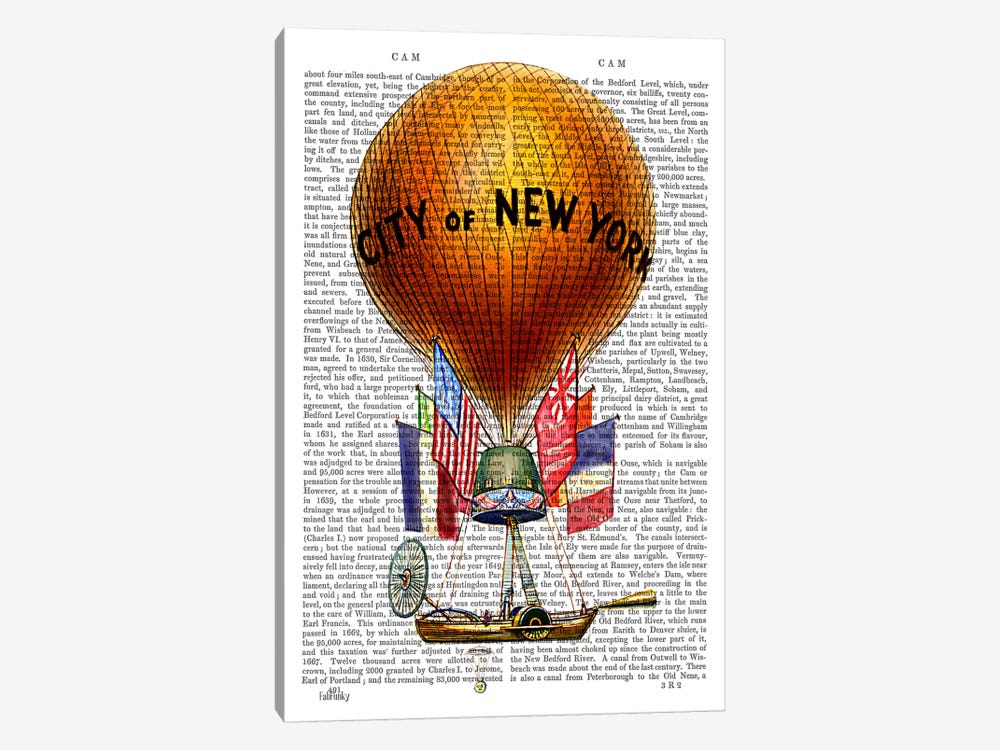City Of New York Hot Air Balloon by Fab Funky 1-piece Canvas Art