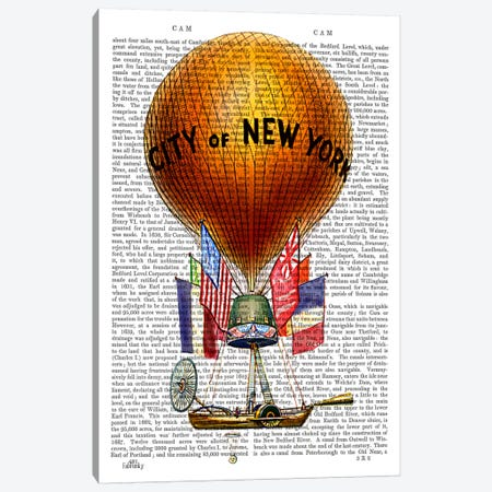 City Of New York Hot Air Balloon Canvas Print #FNK964} by Fab Funky Canvas Artwork