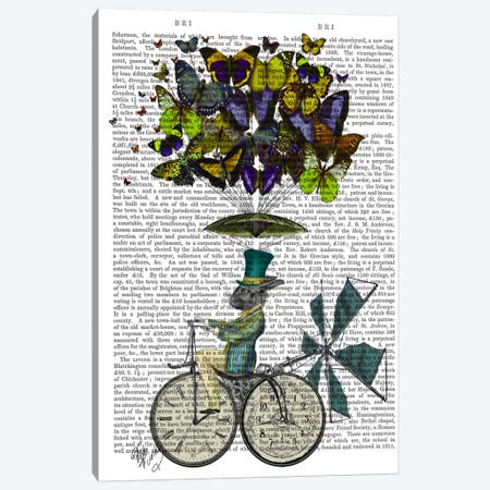 Time Flies Rabbit Canvas Print #FNK96} by Fab Funky Art Print