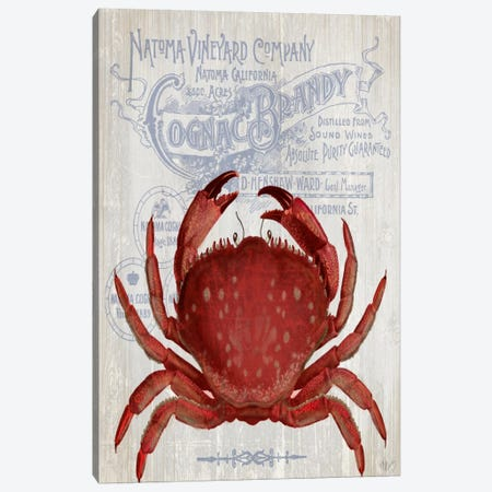Crab Prohibition, Crab On White Canvas Print #FNK975} by Fab Funky Canvas Art Print