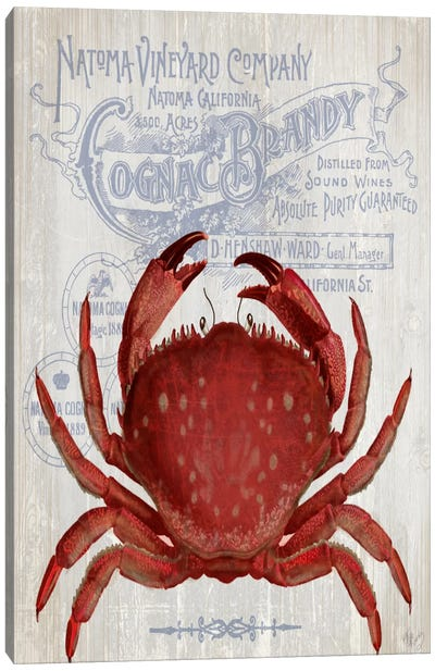 Crab Prohibition, Crab On White Canvas Art Print