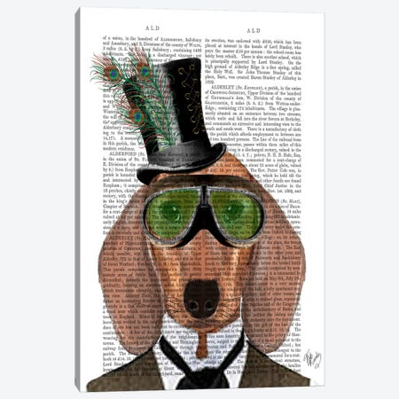 Dachshund Green Goggles Top Hat Canvas Print #FNK977} by Fab Funky Canvas Print