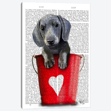 Dachshund Puppy Bucket Of Love Canvas Print #FNK979} by Fab Funky Canvas Wall Art