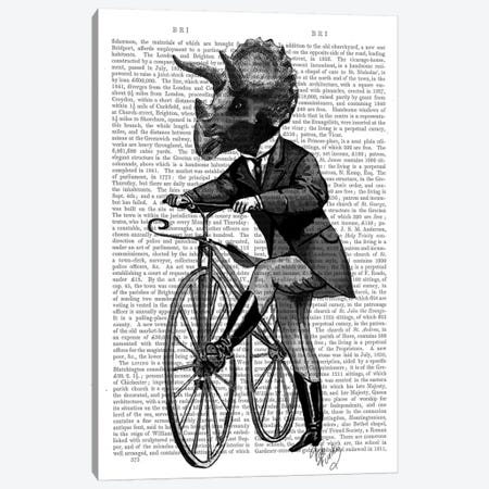 Triceratops Man On Bike Canvas Print #FNK97} by Fab Funky Art Print