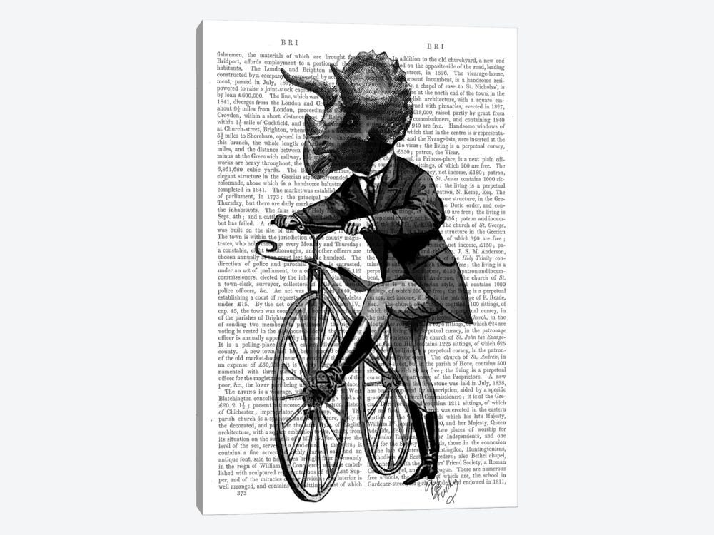 Triceratops Man On Bike by Fab Funky 1-piece Canvas Art