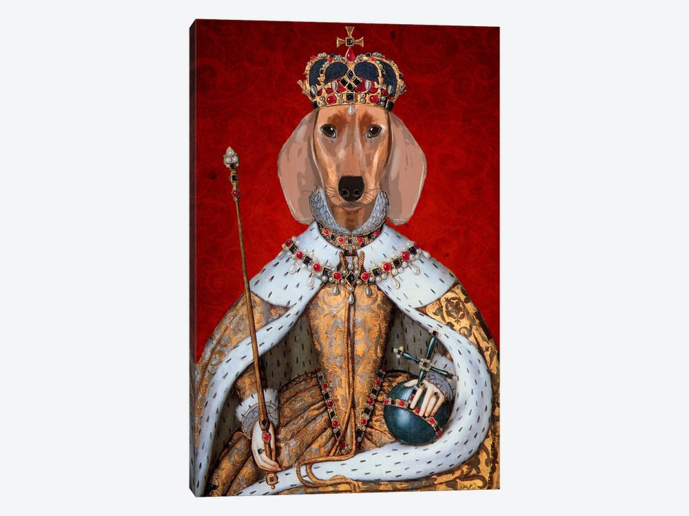 Dachshund Queen by Fab Funky 1-piece Canvas Wall Art