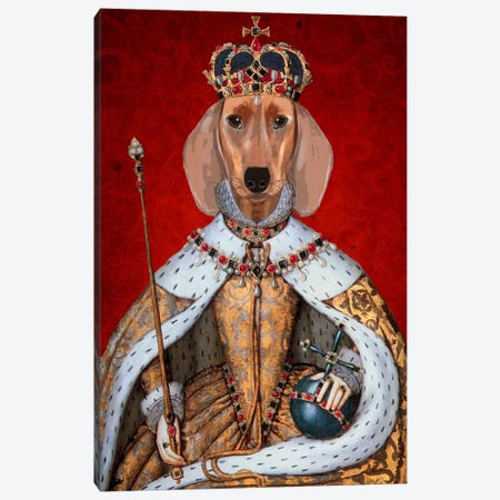 Dachshund Queen II Canvas Print #FNK980} by Fab Funky Canvas Print