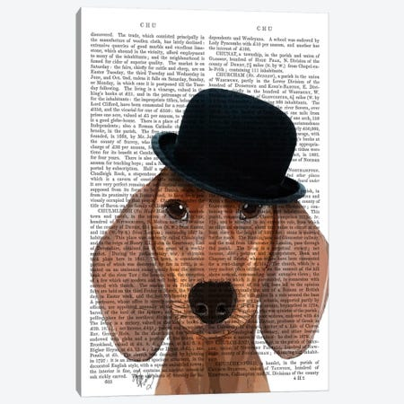 Dachshund With Black Bowler Hat Canvas Print #FNK981} by Fab Funky Canvas Art Print