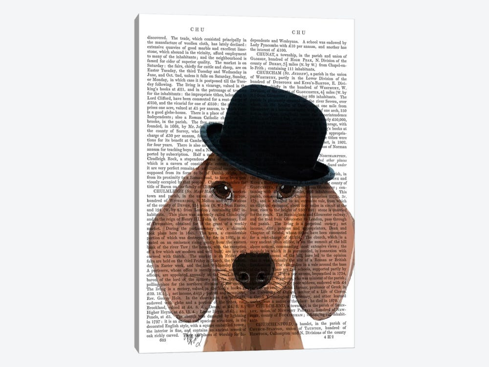 Dachshund With Black Bowler Hat by Fab Funky 1-piece Canvas Art Print 2d27e950c259