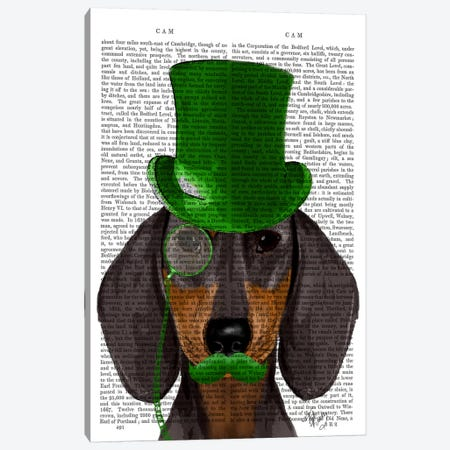 Dachshund With Green Top Hat Black Tan Canvas Print #FNK982} by Fab Funky Art Print