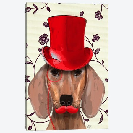 Dachshund With Red Top Hat Canvas Print #FNK983} by Fab Funky Art Print