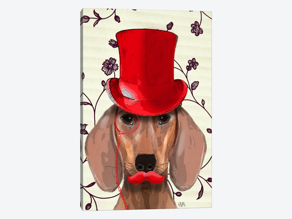 Dachshund With Red Top Hat by Fab Funky 1-piece Art Print