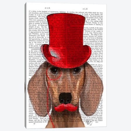 Dachshund With Red Top Hat & Moustache Canvas Print #FNK984} by Fab Funky Canvas Artwork
