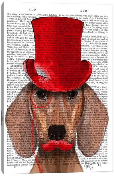 Dachshund With Red Top Hat & Moustache Canvas Art Print