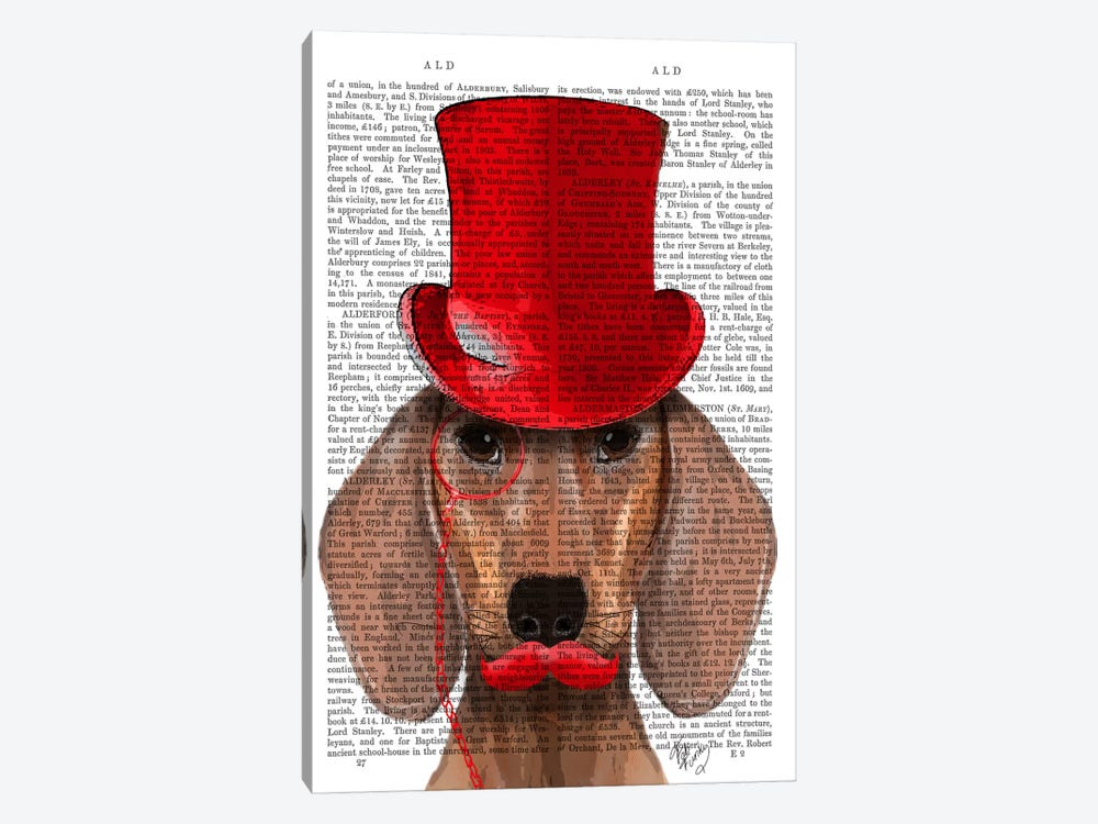 Dachshund With Red Top Hat & Moustache 1-piece Canvas Artwork