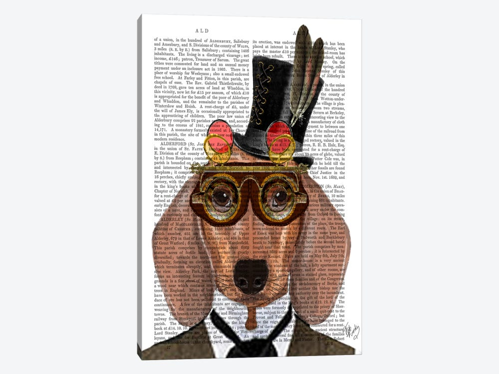 Dachshund With Top Hat & Goggles by Fab Funky 1-piece Canvas Print