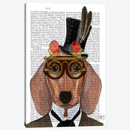 Dachshund With Top Hat & Goggles Canvas Print #FNK985} by Fab Funky Canvas Wall Art