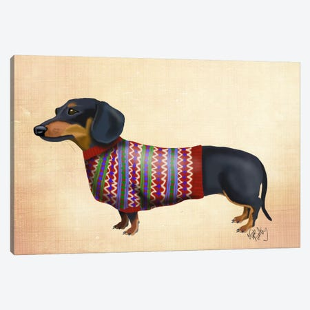 Dachshund With Woolly Sweater Canvas Print #FNK986} by Fab Funky Canvas Wall Art