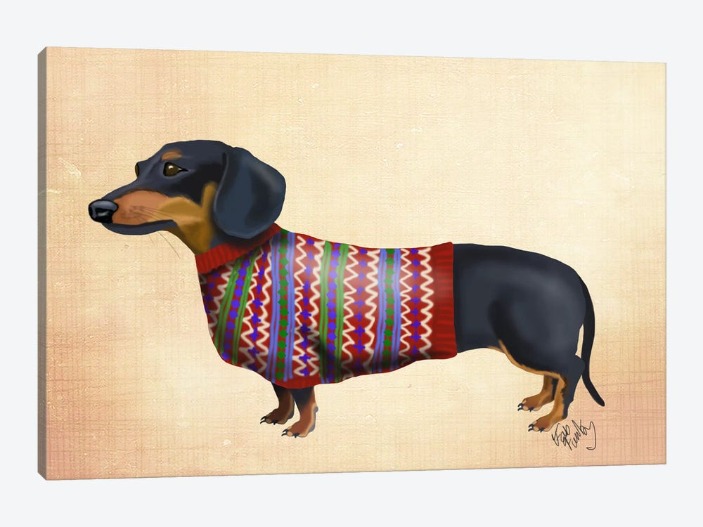Dachshund With Woolly Sweater by Fab Funky 1-piece Canvas Art