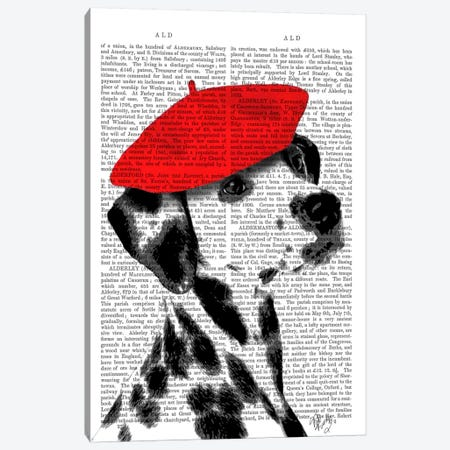 Dalmatian With Red Beret II Canvas Print #FNK987} by Fab Funky Canvas Artwork