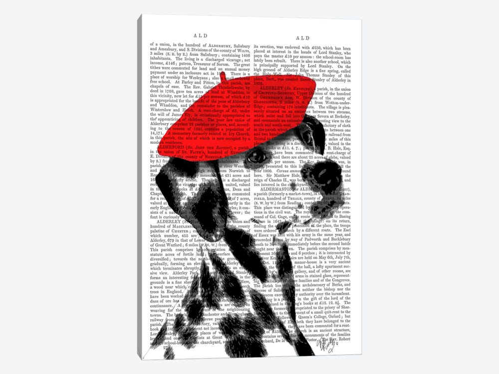 Dalmatian With Red Beret by Fab Funky 1-piece Canvas Print