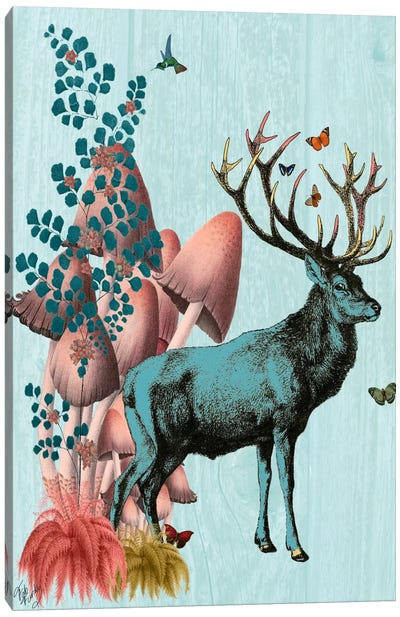 Turquoise Deer In Mushroom Forest Canvas Art Print