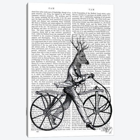 Dandy Deer On Vintage Bicycle Canvas Print #FNK990} by Fab Funky Canvas Art