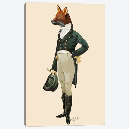 Dandy Fox Canvas Print #FNK991} by Fab Funky Canvas Art