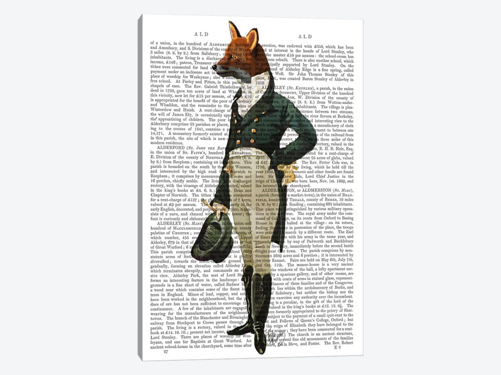 Dandy Fox, Print BG 1-piece Canvas Art Print