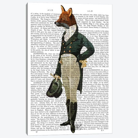 Dandy Fox, Print BG Canvas Print #FNK992} by Fab Funky Canvas Artwork