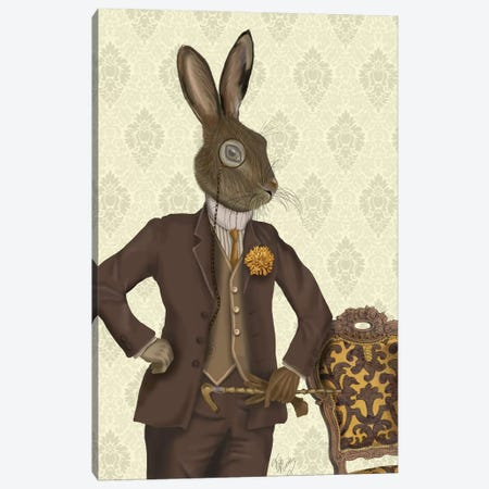 Dapper Hare Canvas Print #FNK994} by Fab Funky Canvas Print