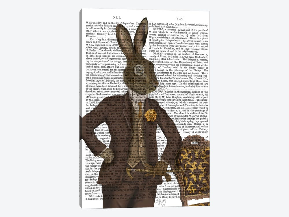 Dapper Hare, Print BG by Fab Funky 1-piece Canvas Art