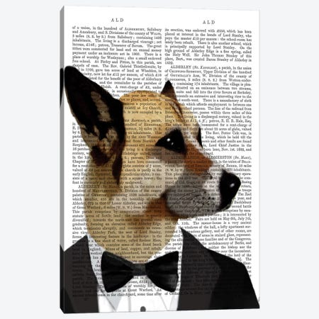Debonair James Bond Dog Canvas Print #FNK997} by Fab Funky Art Print