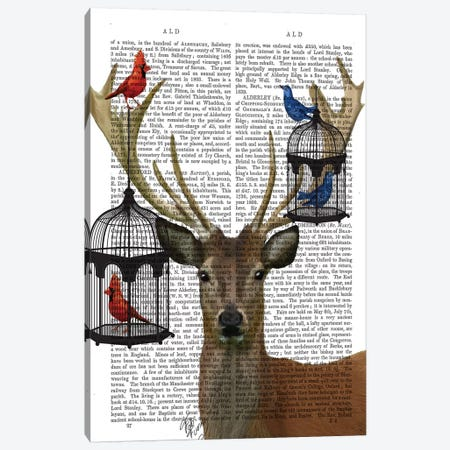 Deer & Bird Cages Canvas Print #FNK998} by Fab Funky Canvas Wall Art
