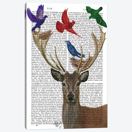 Deer & Birds Nests Canvas Print #FNK999} by Fab Funky Canvas Artwork