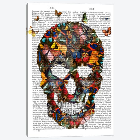 Butterfly Skull Canvas Print #FNK9} by Fab Funky Canvas Art