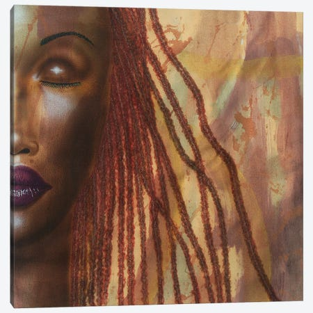 Girl With Red Locs Canvas Print #FOD174} by Fred Odle Canvas Art Print