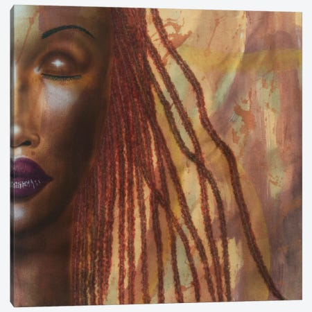 Girl With Red Locs Canvas Print #FOD34} by Fred Odle Art Print