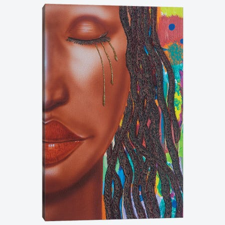 Thandie With Tears Canvas Print #FOD84} by Fred Odle Canvas Wall Art