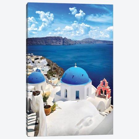 Roof As Blue As The Sky, Oia, Santorin, Greece 3-Piece Canvas #FOL17} by Florian Olbrechts Canvas Art Print