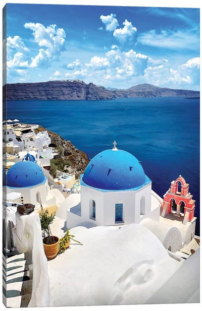 Roof As Blue As The Sky, Oia, Santorin, Greece Canvas Art Print