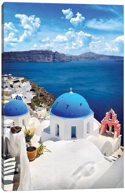 Roof As Blue As The Sky, Oia, Santorin, Greece Canvas Art Print