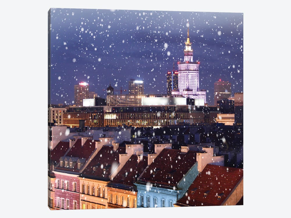Snow Falls On The Roofs First, Warsaw by Florian Olbrechts 1-piece Canvas Art