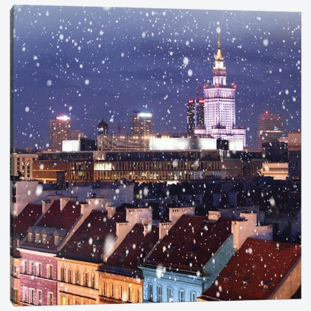 Snow Falls On The Roofs First, Warsaw Canvas Print #FOL18} by Florian Olbrechts Canvas Wall Art